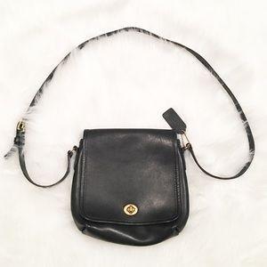 Coach solid black vintage crossbody bag